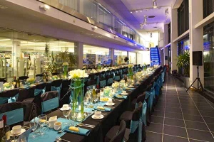 Black & turquoise corporate event set-up
