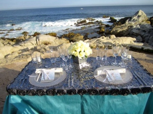 Silver and tiffany blue table cloth from the Linens, Things and more... 2010 collection in Los Cabos