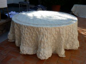 Beige round tablecloth 2010 Linens, Things and More... collection
