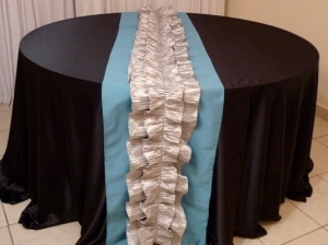 Black and blue linens for your Cabo event from the Linens, Things and More... 2010 collection