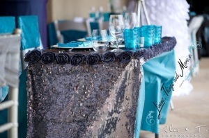 romantic silver and turquoise love table Cabo