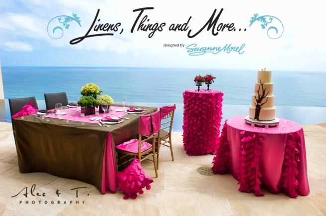 Los Cabos wedding decor: pink and brown
