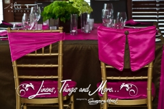 Los Cabos wedding decor: pink and brown cover chairs