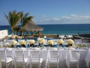 White linens set-up Catillo Escondido wedding