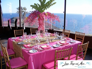 Sunset DaMonalisa Pink and gold wedding decor Los Cabos