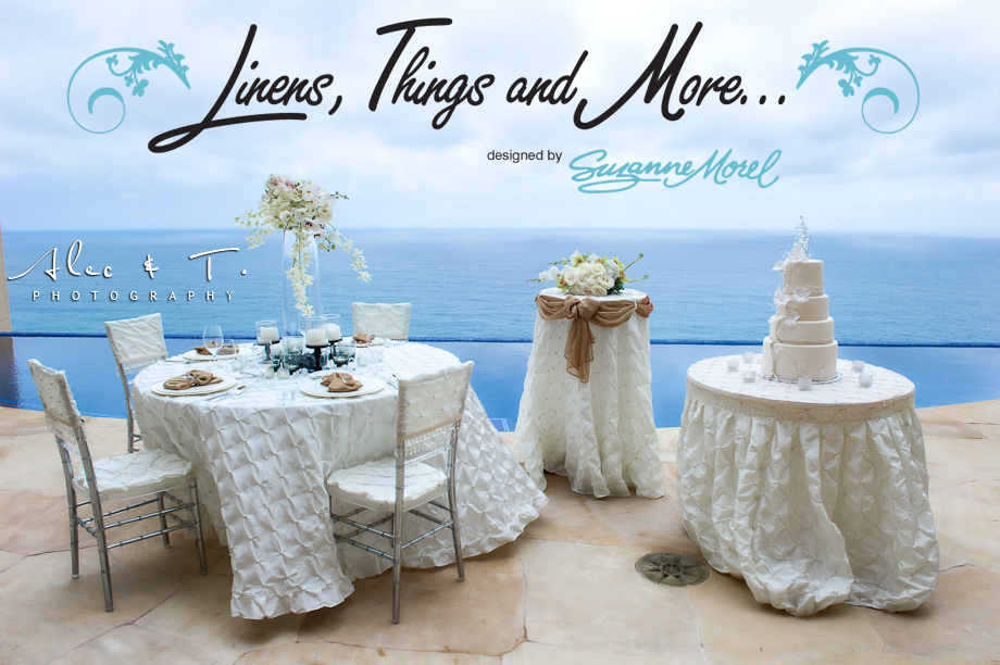 champagne & ivory wedding linens decor Cabo
