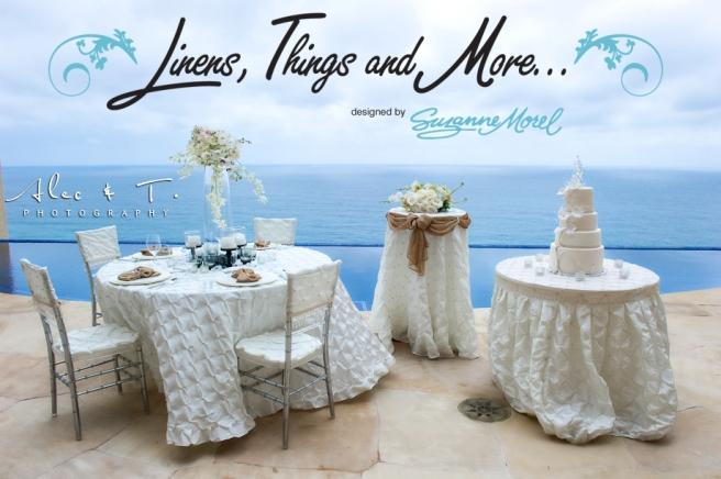 champagne & ivory wedding linens decor Cabo