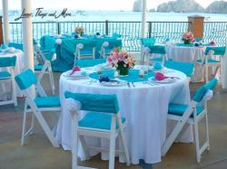 Turquoise and white wedding decor