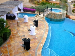 Black and white cabo event set-up and linens