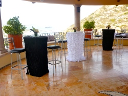 Black and White Cocktail tables for wedding decor or event