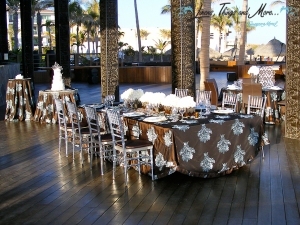 Cabo Azul cake, cocktail and bridal party table