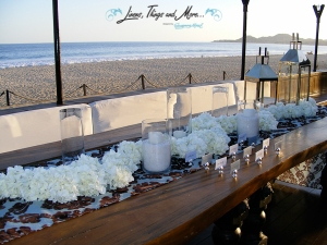 Cabo Azul wedding signing table on the beach