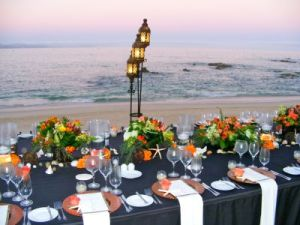 Dinner set-up at Sunset in Cabo