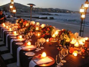 Cabo Romantic dinner set-up on the beach