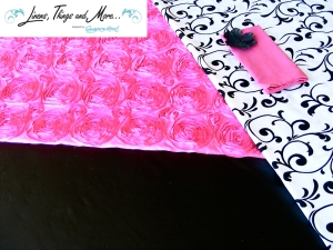 Fashion hot pink and black and white wedding linen design in Cabo