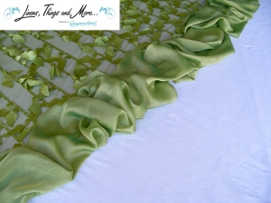 Cabo Green butterfly fabric and organza elegant wedding set-up