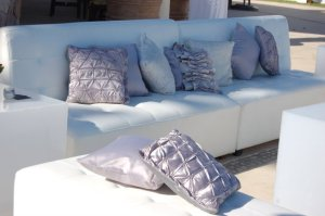 Corporate event lounge silver cushions Hotel Hilton Los Cabos