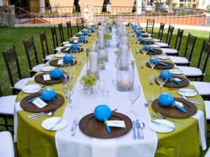 green and off white wedding set-up at the Hilton Los Cabos