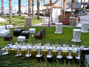 green and off white rehearsal dinner at the Hilton Los Cabos