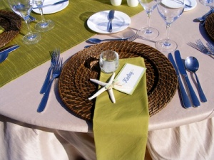 green and sand wedding reception at the Hilton Los Cabos