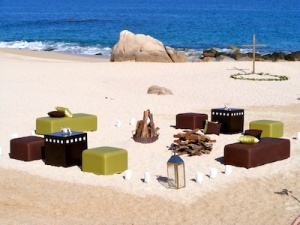 brown and green lounge wedding set-up at the Hilton Los Cabos