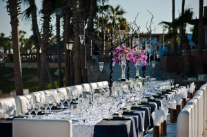 Navy blue linens and White runners for a Cabo Event