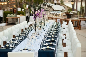 Navy blue and white lounge wedding reception set-up