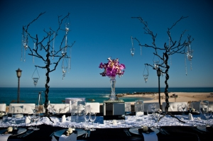 Event decor by the ocean at the Hilton Los cabos