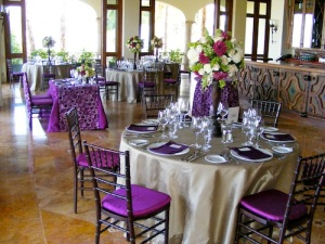 Eggplant and Sand wedding decor Cabo del Sol