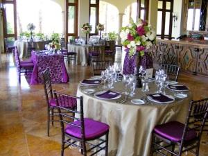 Eggplant and Sand wedding decor Cabo del Sol