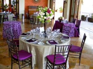 Cabo sand and eggplant wedding design