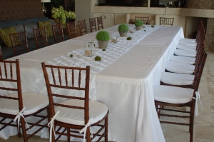 White on white event set-up Los Cabos