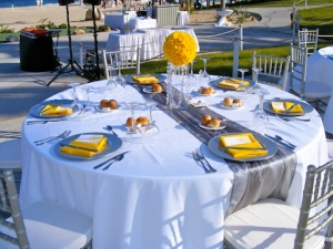 Silver and yellow wedding decor at the Dreams Los Cabos | Cabo ...