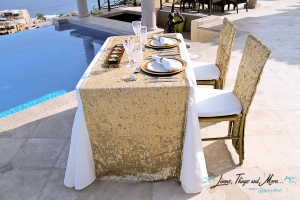 gold sequin table design cabo event and wedding