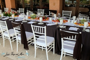 Brown chair bands for weddings and events in Cabo