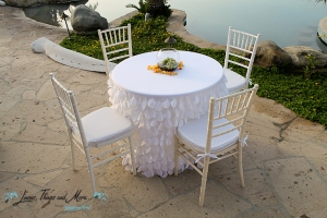 White linen for shorter cocktail table Los Cabos