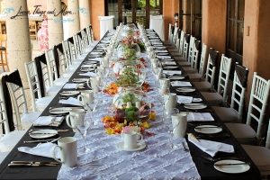 White runner on brown linens for Cabo event decor