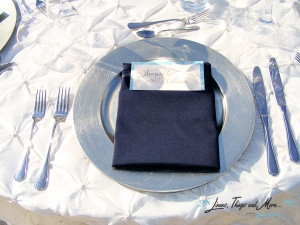Silver charger, navy blue napkins and pearl linen Cabo