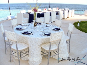Navy blue and pearl high end wedding decor