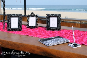 Black and pink Guest book table