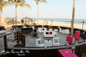 Wedding lounge set-up in Cabo Azul Resort