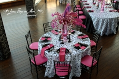 Black and white and pink wedding decor Cabo