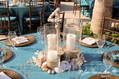 Wedding seashell table stationnary numbers Cabo