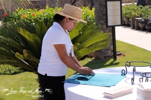 Linen set-up for an event in Cabo