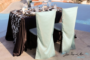 Aqua blue and brown Cabo wedding decor