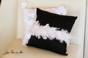 black and white feather cushion for cabo event