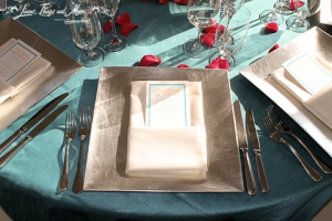 wedding Cabo: square silver charger