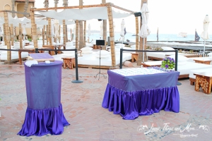 wedding Cabo: entrance table eggplant at NIkki beach