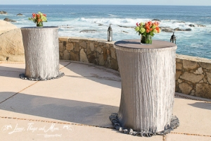 custom cocktail tables linen design at Esperanza Resort Cabo
