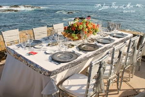 Wedding Silver Imperial table design Esperanza Resort Los Cabos
